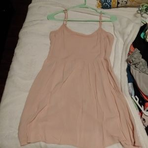 Blush pink mini dress with mesh neckline